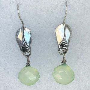 Seafoam Chalcedony & Sterling Silver Drop Earrings